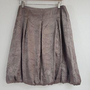 Nicole Miller Crinkle Bubble Hem Skirt Taupe 6